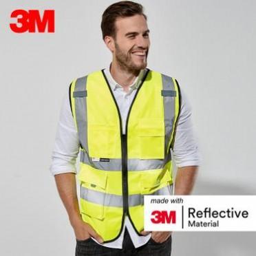 3M反光背心公路施工夜间户外骑行荧光马甲外套汽车年检用安全衣服