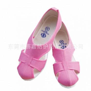 厂内工作鞋 SG-06182E粉红色工作防尘布鞋 女士劳保鞋 四眼鞋批发